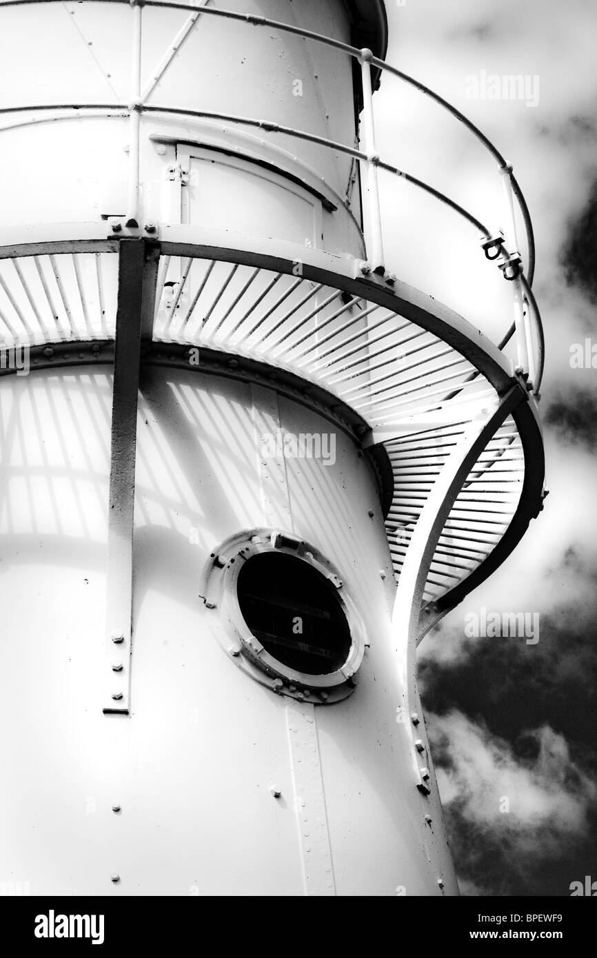 Detail of Black Nore lighthouse near Portishead and Clevedon on the Severn estuary - Stock Image