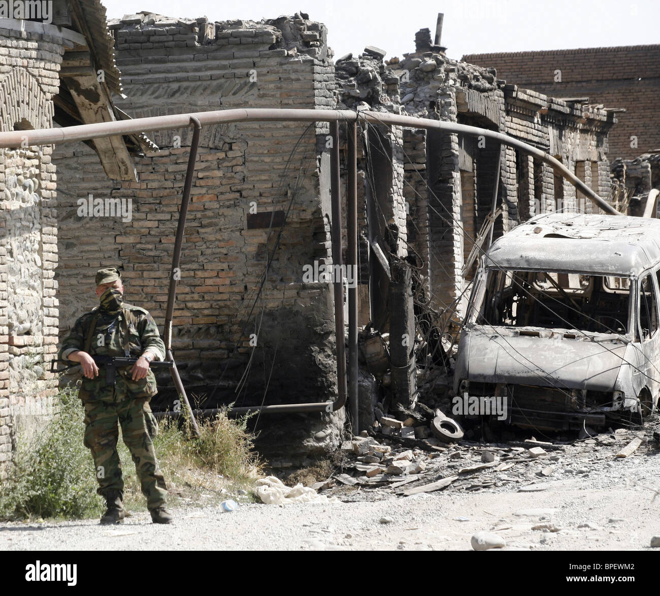 South Ossetian capital in ruins Stock Photo