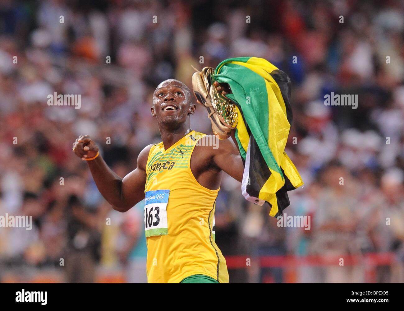 Men's 100-meter dash at Beijing Olympics - Stock Image