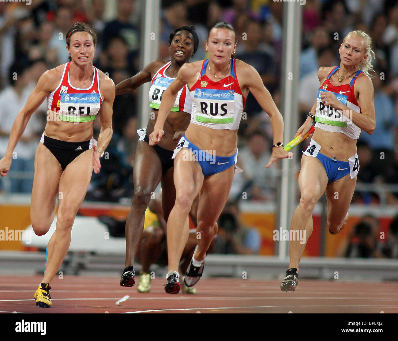 Russia wins gold in women's 4x100m relay at Beijing Olympics - Stock Image