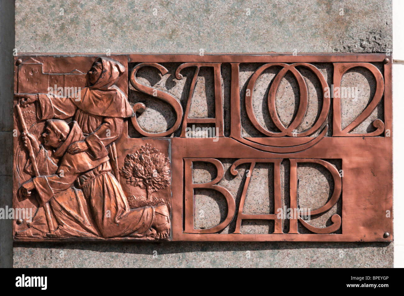 Sign for the Saloon Bar on The Black Friar pub in Blackfriars, London Stock Photo