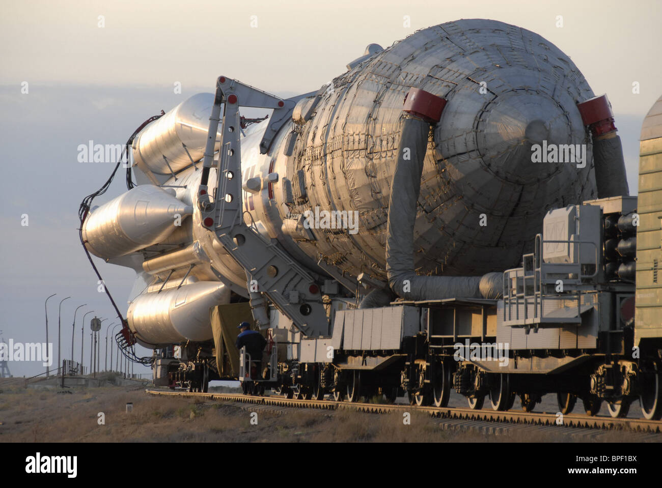 Proton- M space rocket with booster Breeze-M to be launched from Baikonur cosmodrome - Stock Image