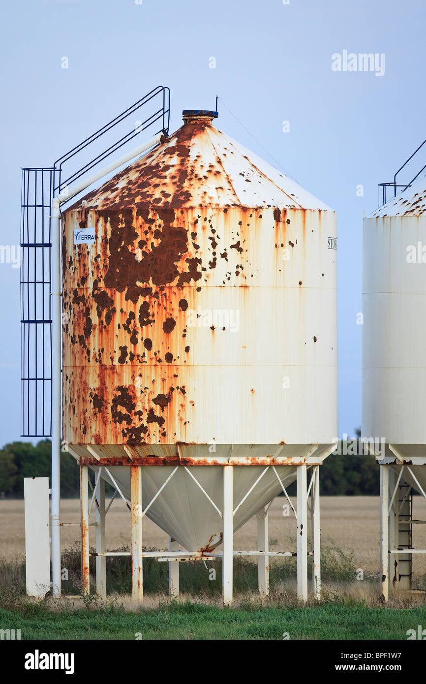 Rusty grain storage silo, Rathwell, Manitoba, Canada. - Stock Image