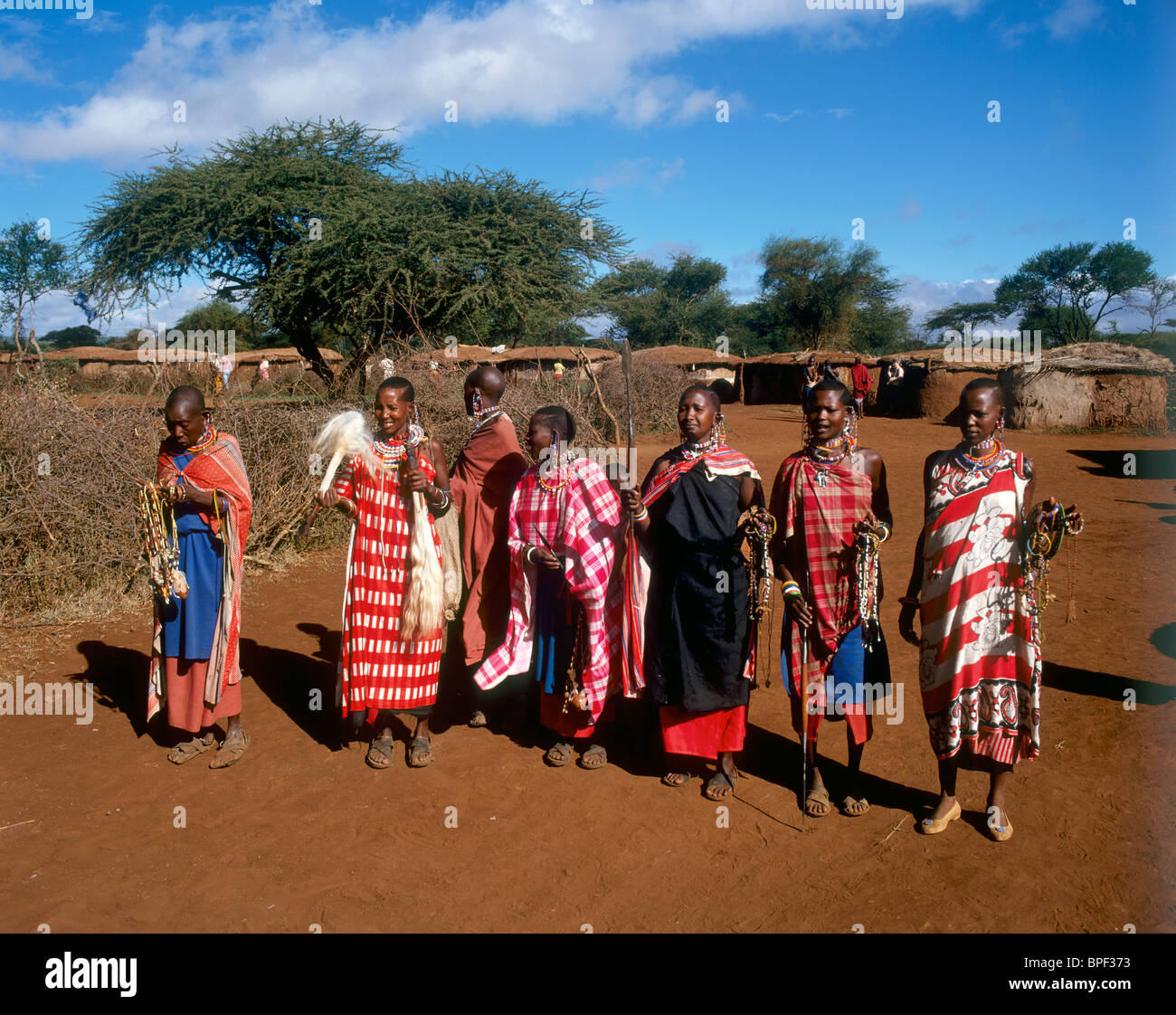 Masai tribeswomen, Amboseli National Park, Kenya - Stock Image
