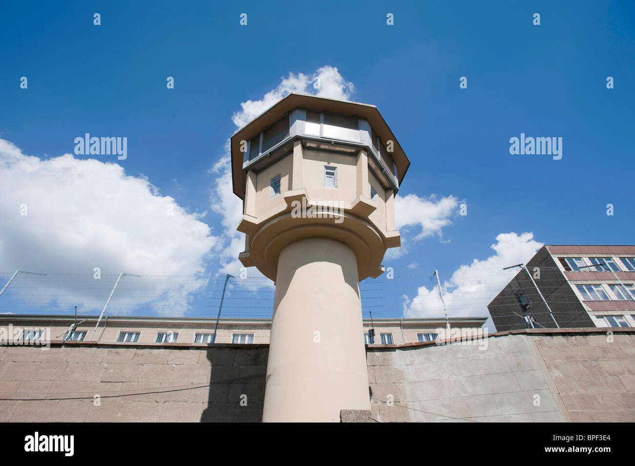 Guard tower at former East German state secret security police or STASI prison at Hohenschönhausen in Berlin - Stock Image