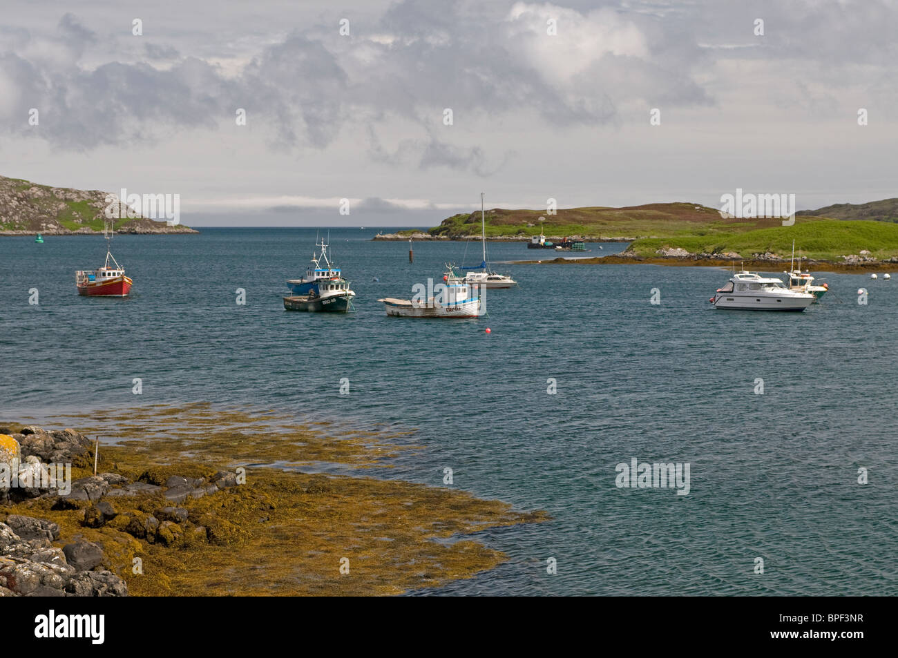 Lochboisdale small boat moorings, South Uist, Outer Hebrides, Scotland. SCO 6428 - Stock Image