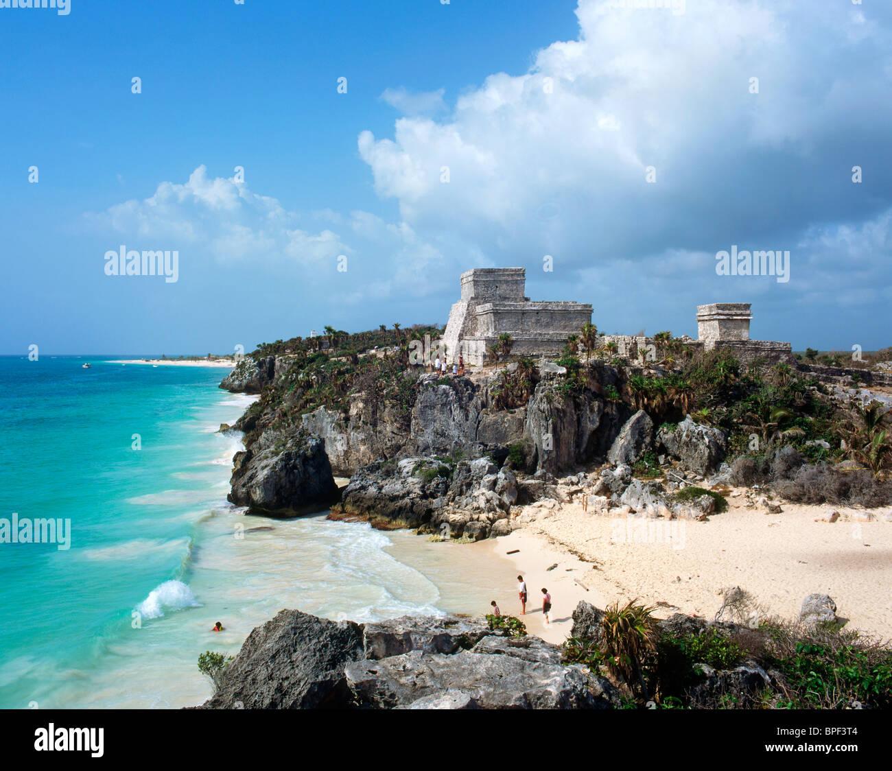 El Castillo Mayan Ruins, Tulum, Quintana Roo, Yucatan Peninsula, Mexico - Stock Image
