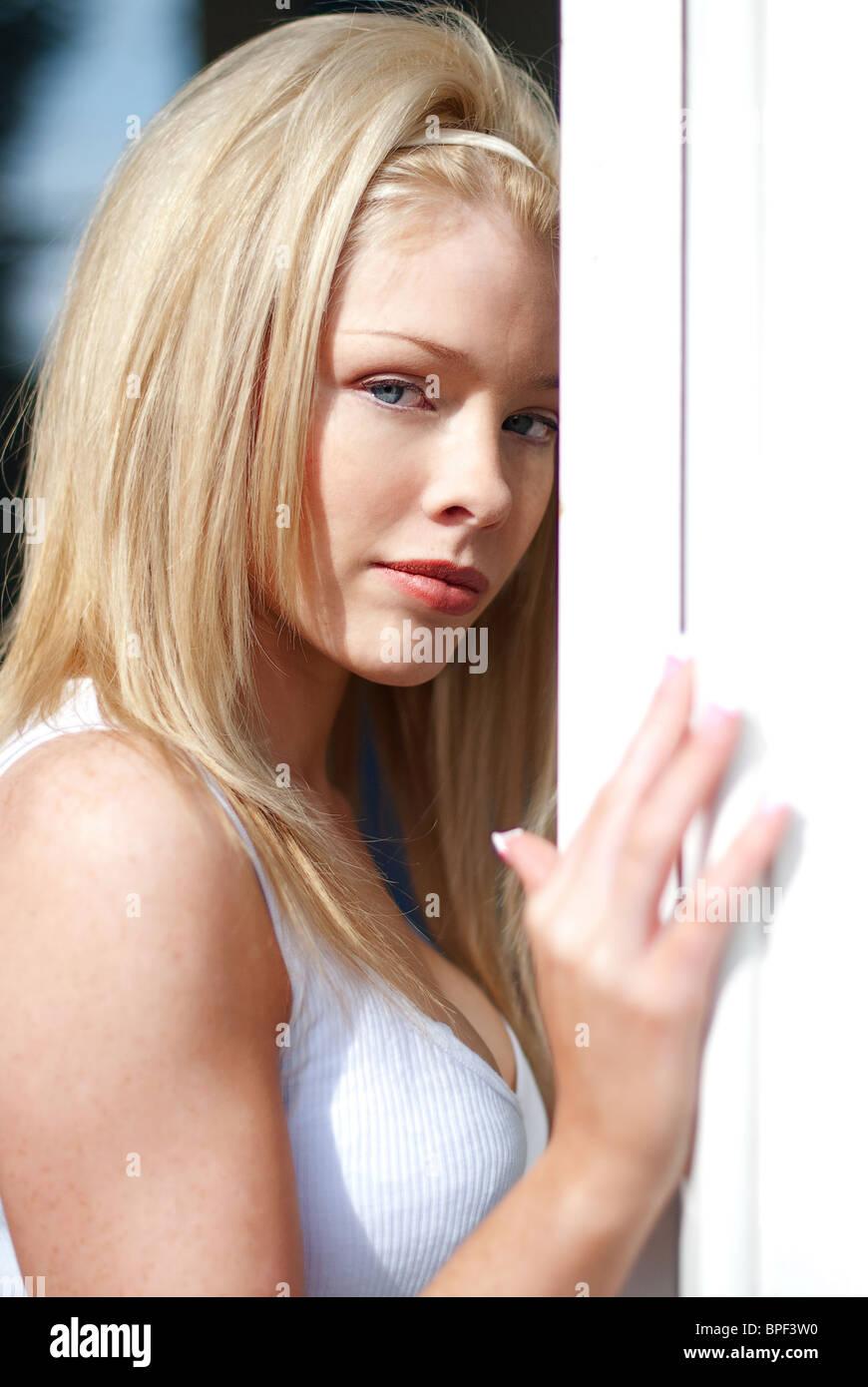 Headshot Of Blonde Model Stock Photo Alamy