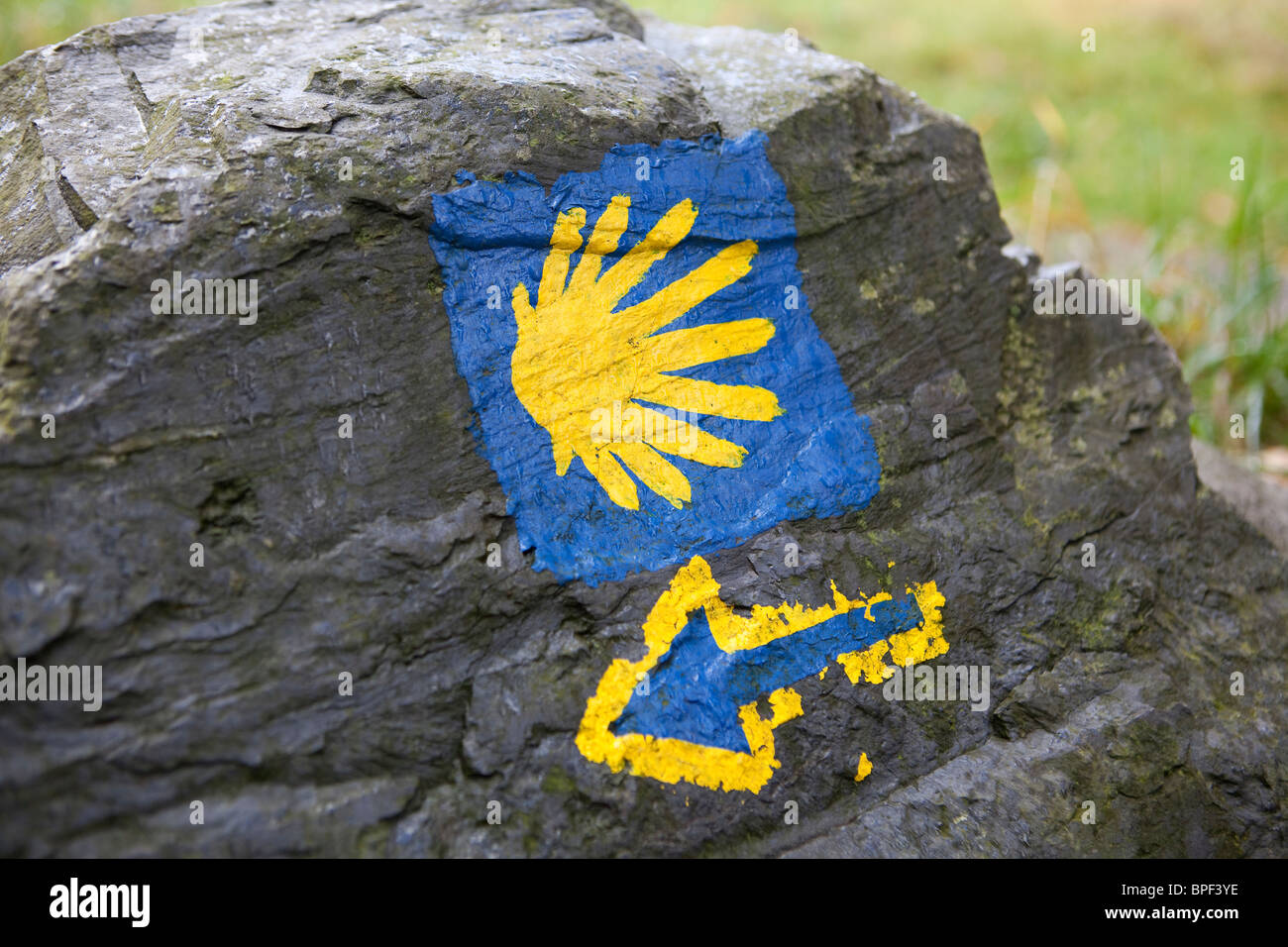 the sign of the Camino de Santiago trail on a stone - Stock Image