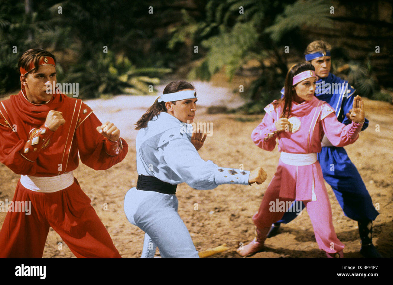 STEVE CARDENAS, JASON DAVID FRANK, AMY JO JOHNSON, DAVID YOST, MIGHTY MORPHIN POWER RANGERS: THE MOVIE, 1995 - Stock Image