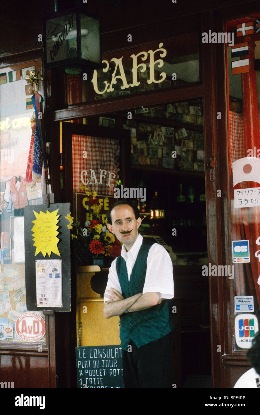 French waiter with waxed moustache at Le Consulat Cafe in Montmartre Paris France 1991 - Stock Image
