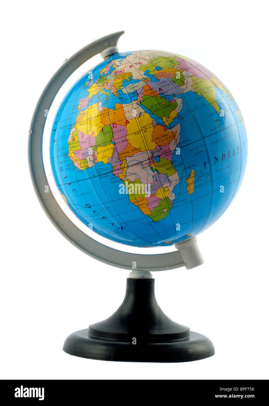 Earth globe stand africa stock photos earth globe stand africa a small globe of the world on a stand isolated on a white background stock gumiabroncs Images