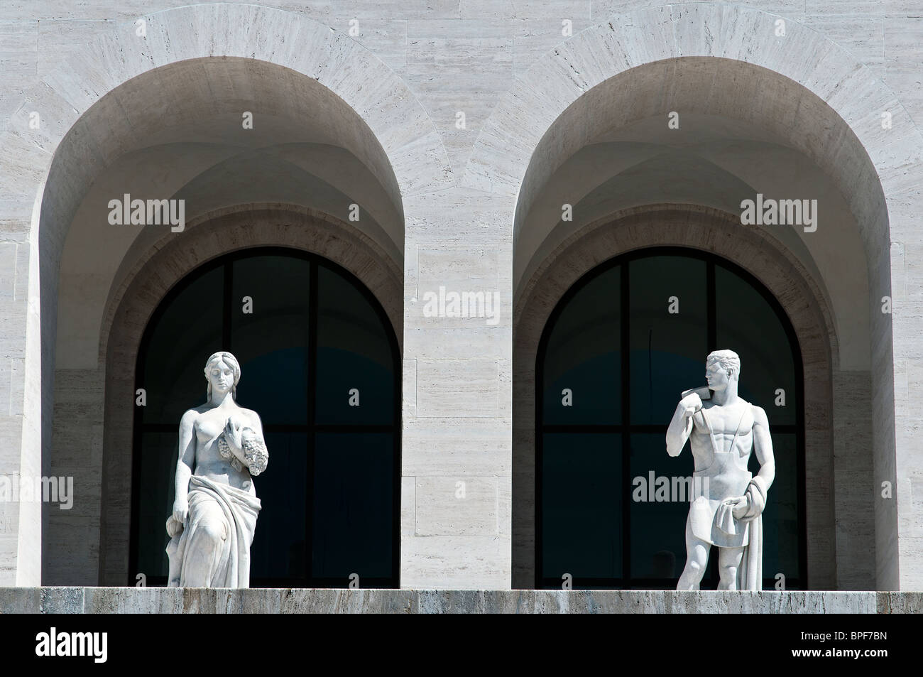 Detail of Palazzo della Civiltà Italiana building, icon of Fascist architecture, EUR district, Rome, Italy - Stock Image
