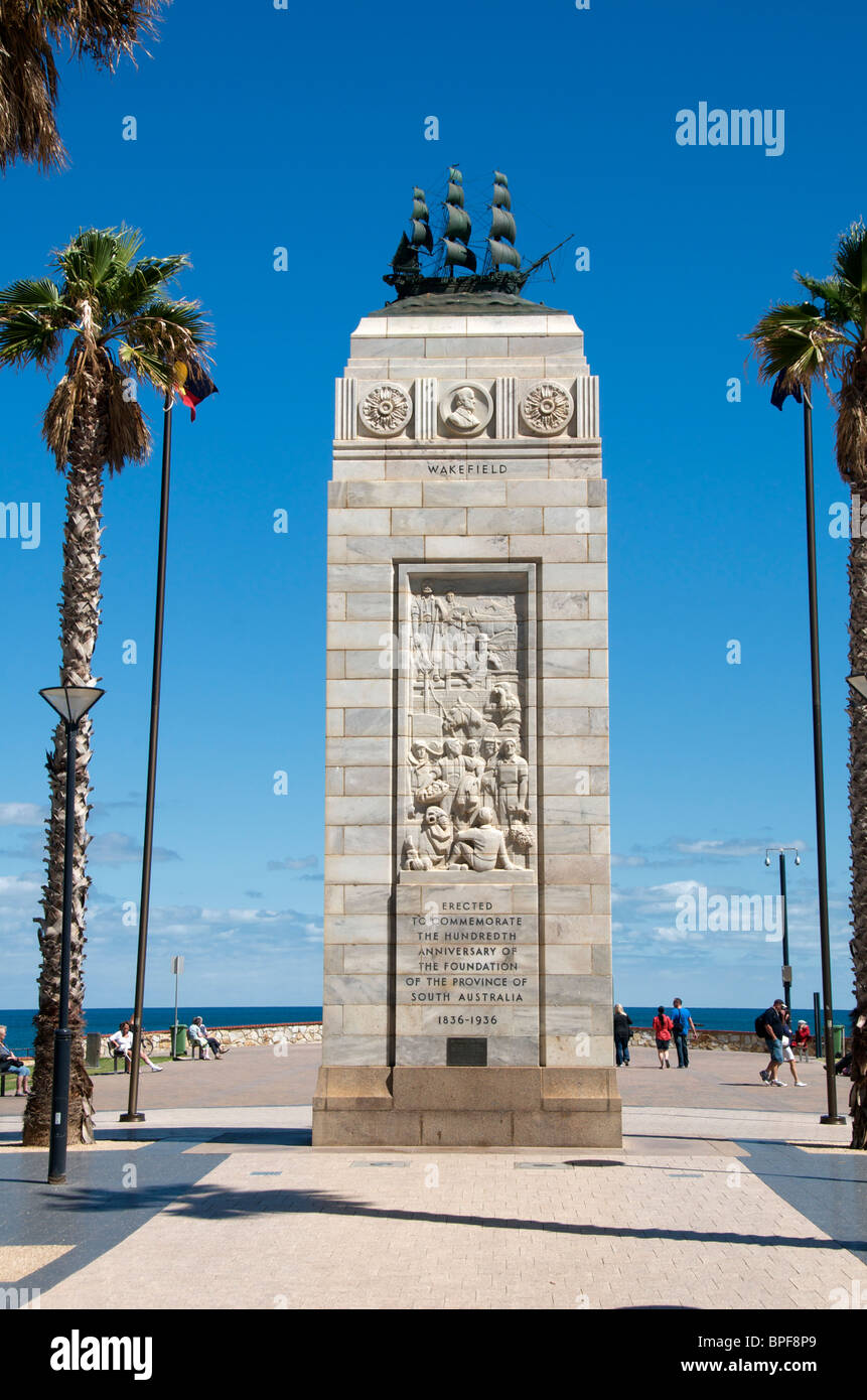Tower commemorating 100 years foundation of South Australia 1836 - 1936 Moseley Square Glenelg Adelaide Stock Photo