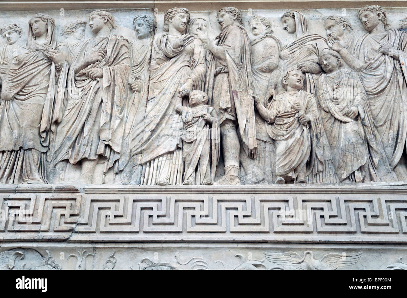 Processional frieze showing Augustus as high priest of Rome, accompanied by members of his family, Ara Pacis, Rome, - Stock Image