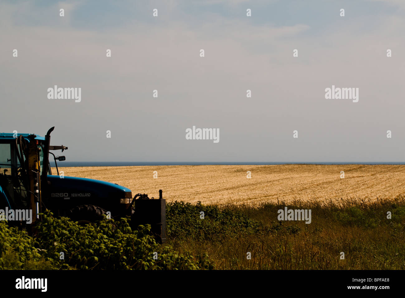 A tractor is parked in the grass beside a field. - Stock Image