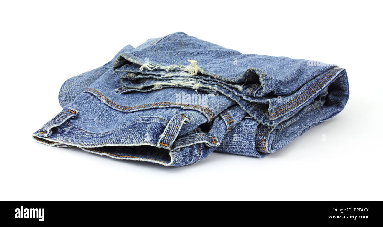 Old worn bluejeans - Stock Image