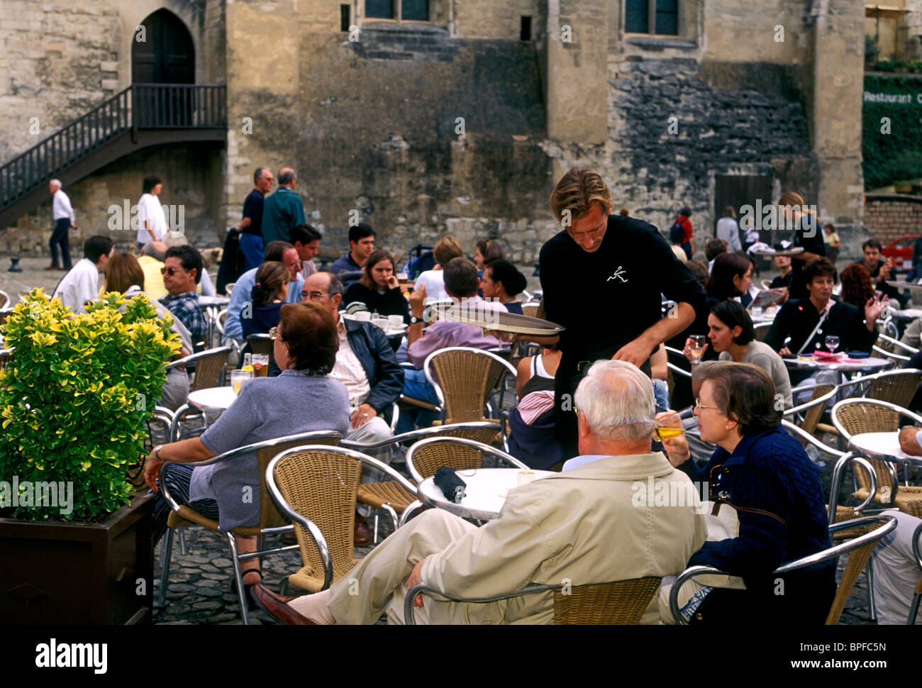 French People Eating Dining Restaurant Food And Drink Place Du Palais City Of Avignon Provence France