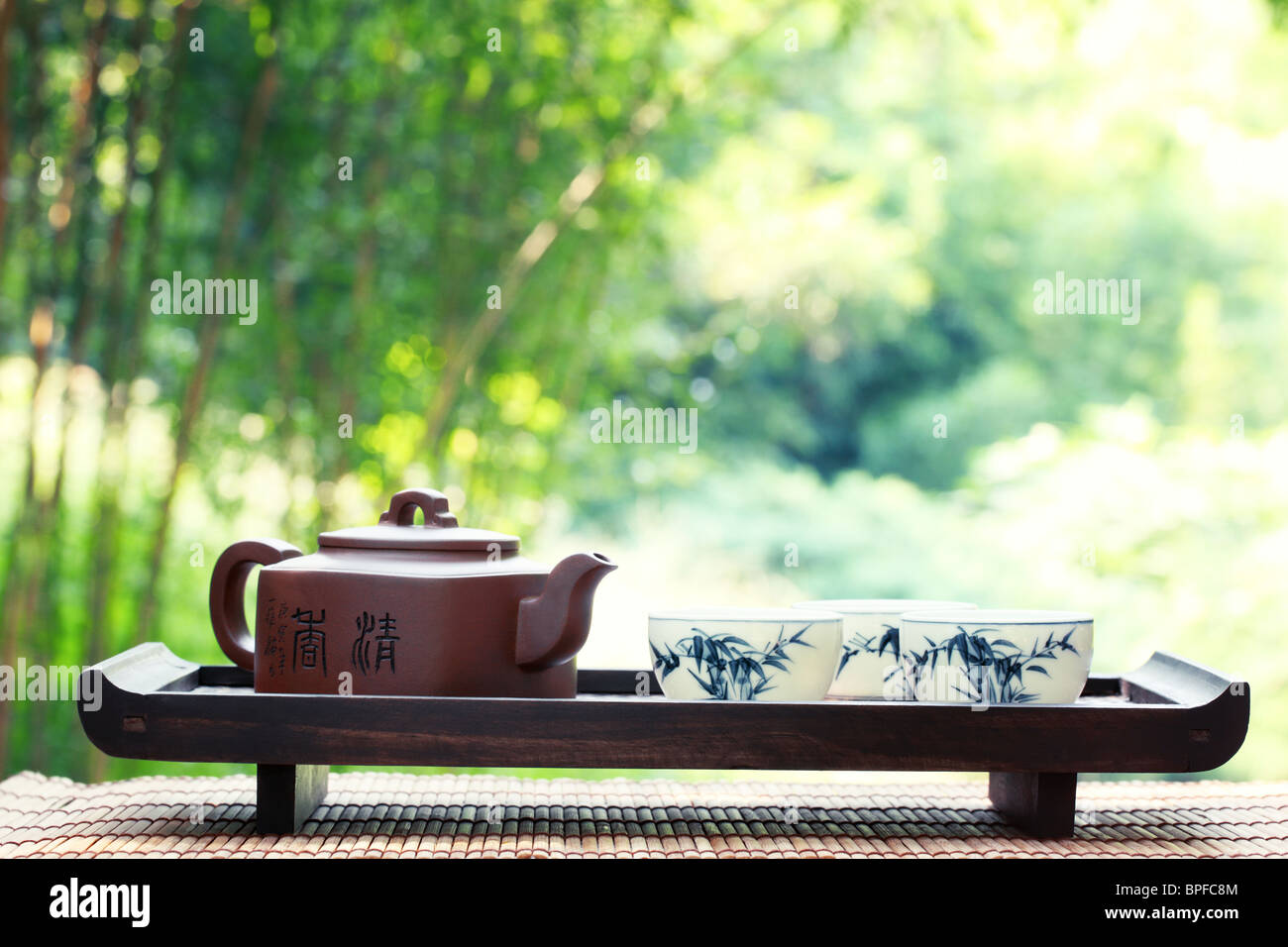 Classical asian tea set at outdoors - Stock Image