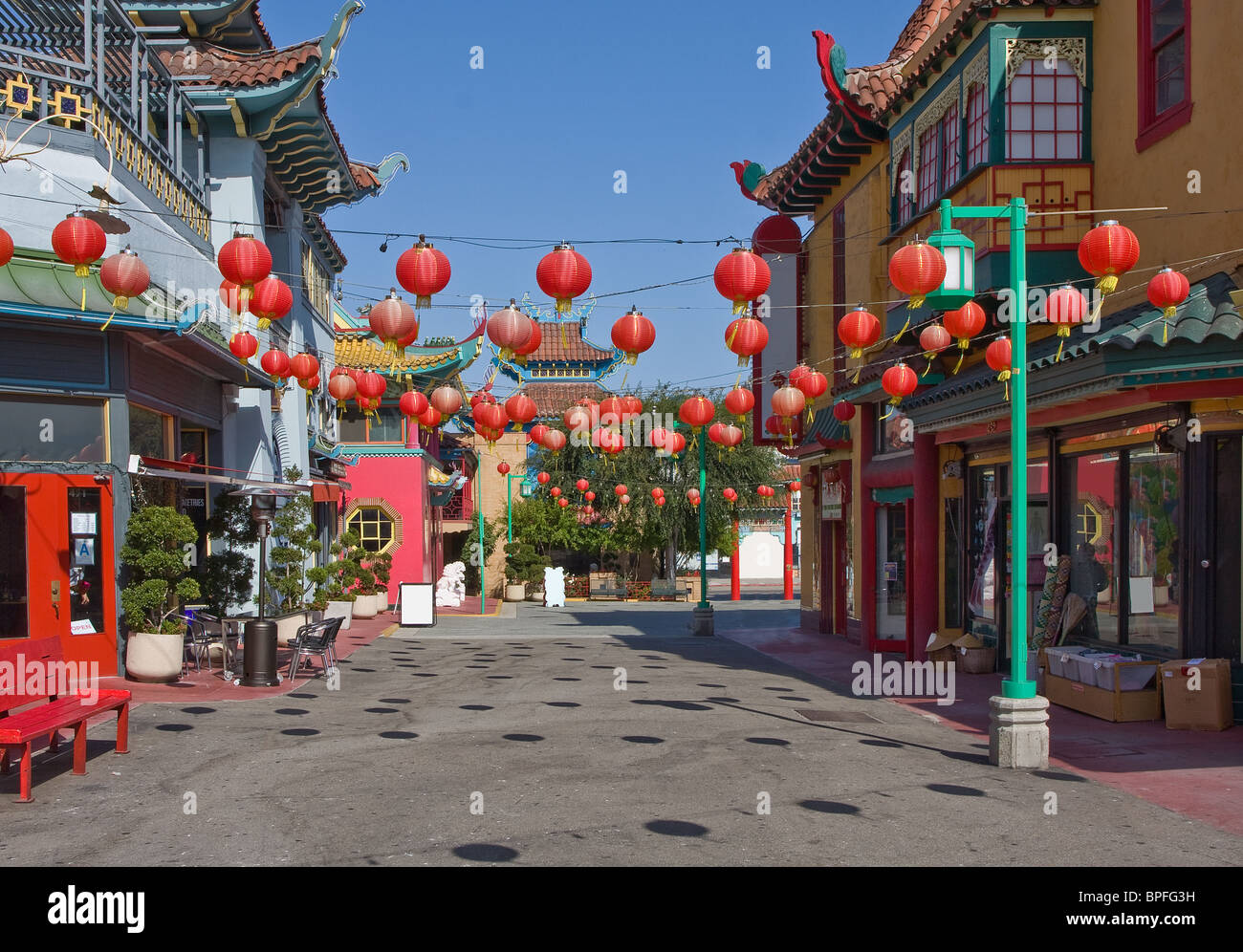 Street view of china town in Los Angeles, California, USA Stock Photo