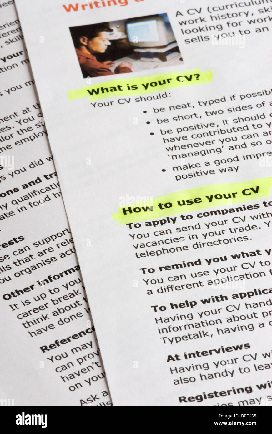 Guide On How To Create A Curriculum Vitae Stock Photo 31077065 Alamy