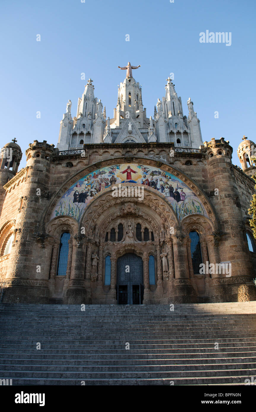 Sagrado Corazon, or Sagrat Cor church on Montjuic mountain, Barcelona, Spain - Stock Image