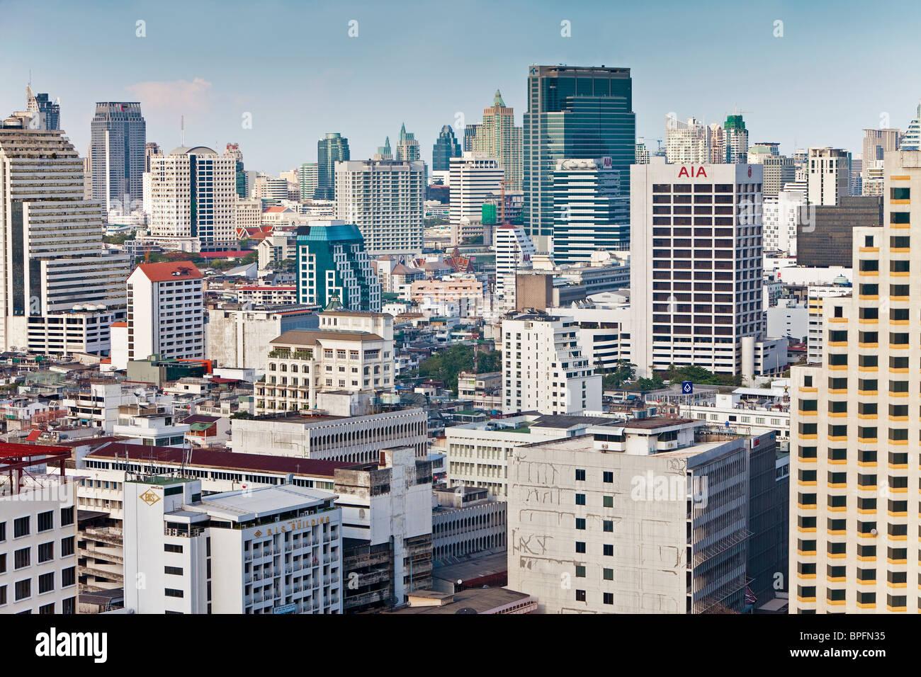 Modern City Skyline looking towards the Sukhumvit district, Bangkok, Thailand, Southeast Asia - Stock Image