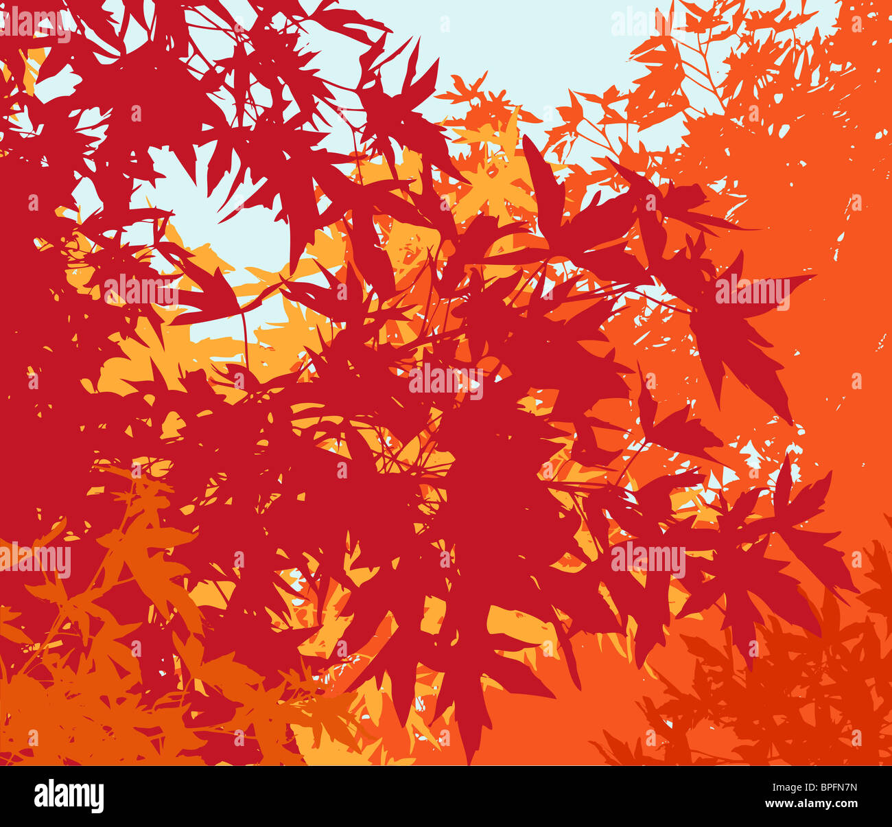 Red Leaves Tree Painting