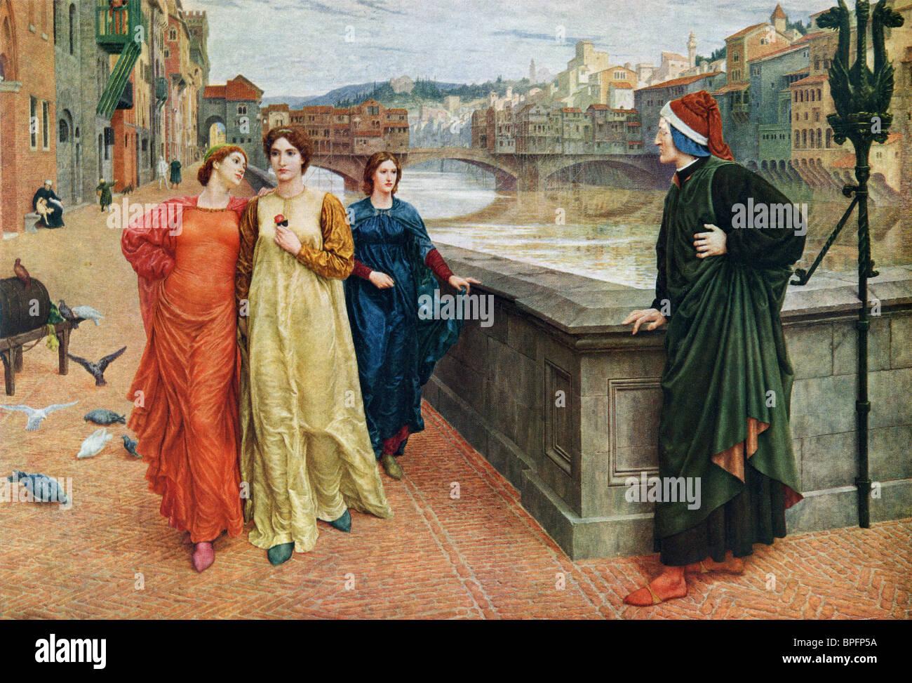 Dante and Beatrice. Dante Alighieri c.1265 – 1321, Italian poet and Beatrice 'Bice' di Folco Portinari 1266 - Stock Image