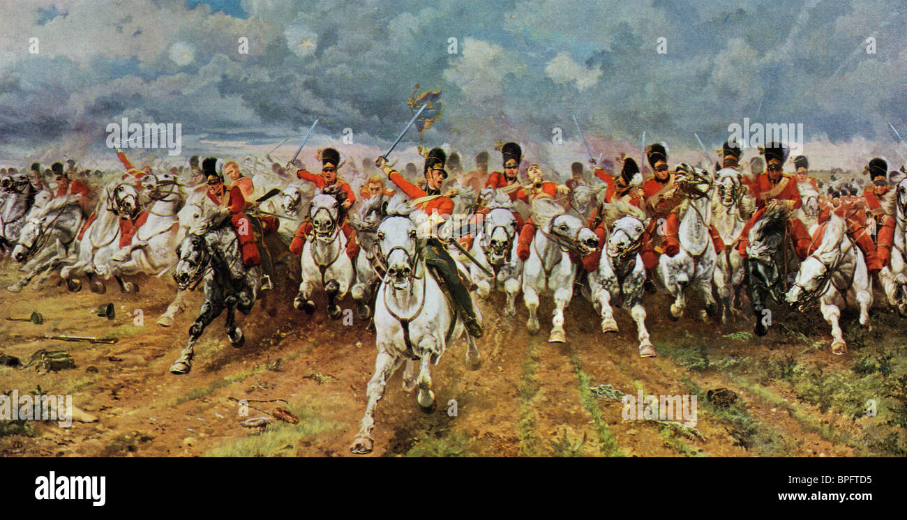 Scotland Forever. The Royal Scots Greys charge at Waterloo. Painting by Lady Elizabeth Butler. - Stock Image