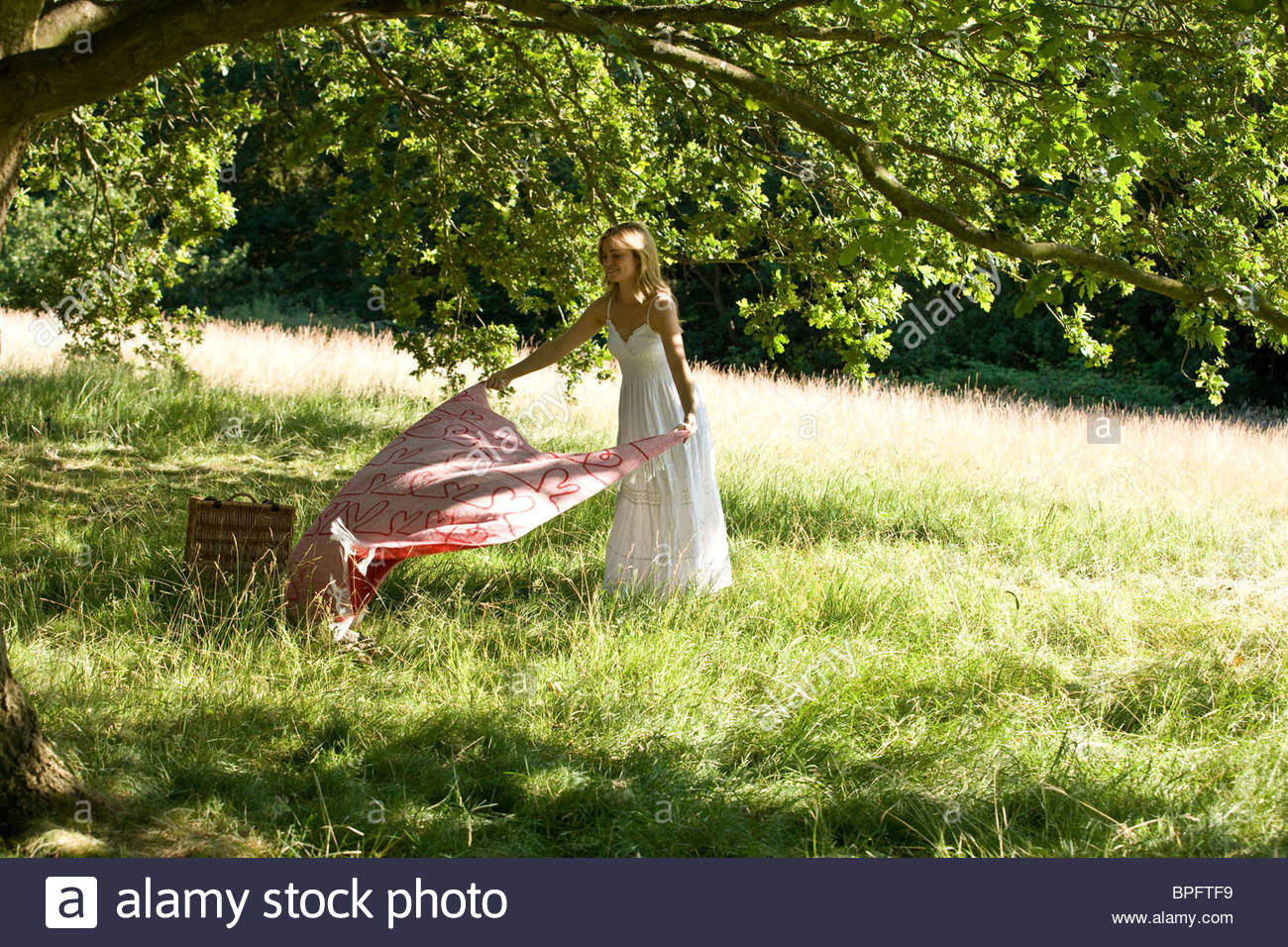 A young woman laying a picnic blanket on the grass - Stock Image
