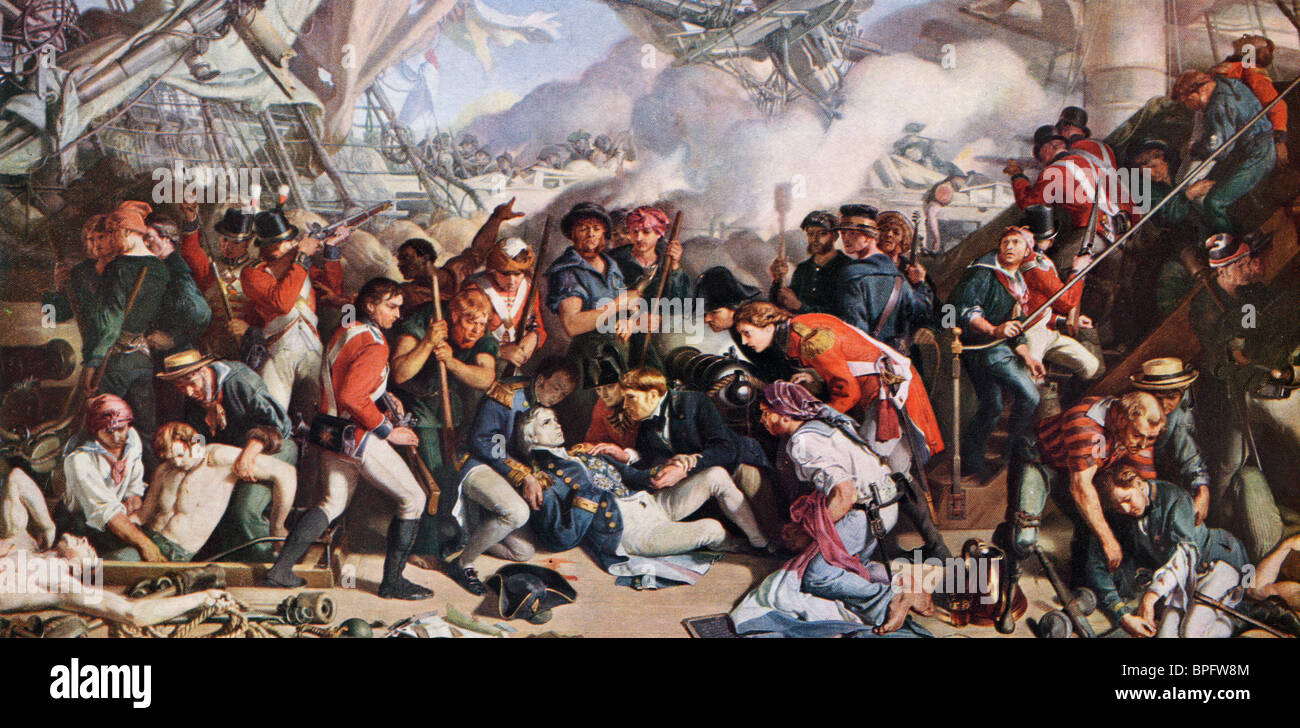 The Death of Nelson. Painting by Daniel Maclise. - Stock Image