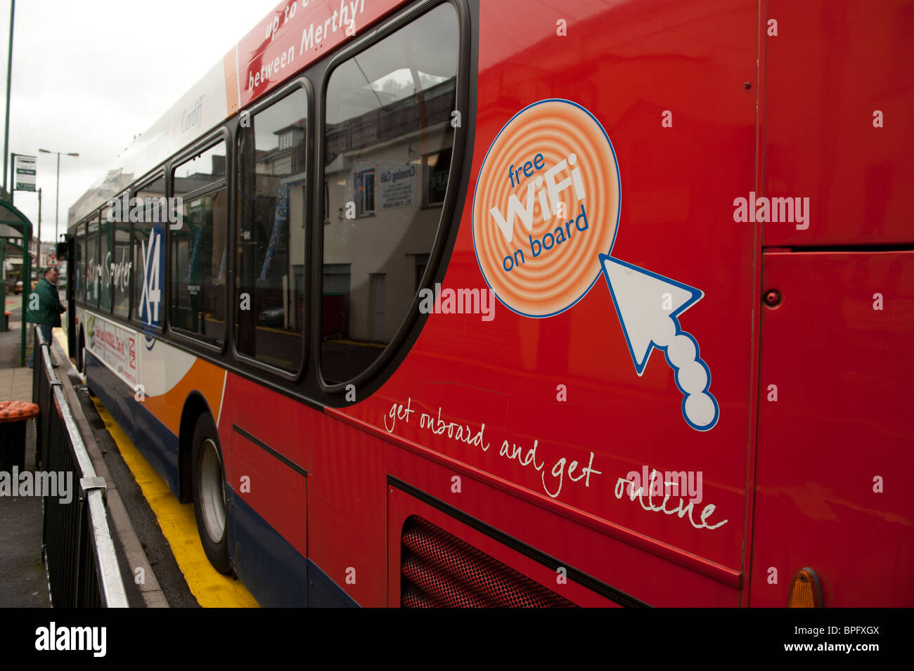 us advertising free on-board wi-fi, Ebbw Vale, South Wales, UK - Stock Image