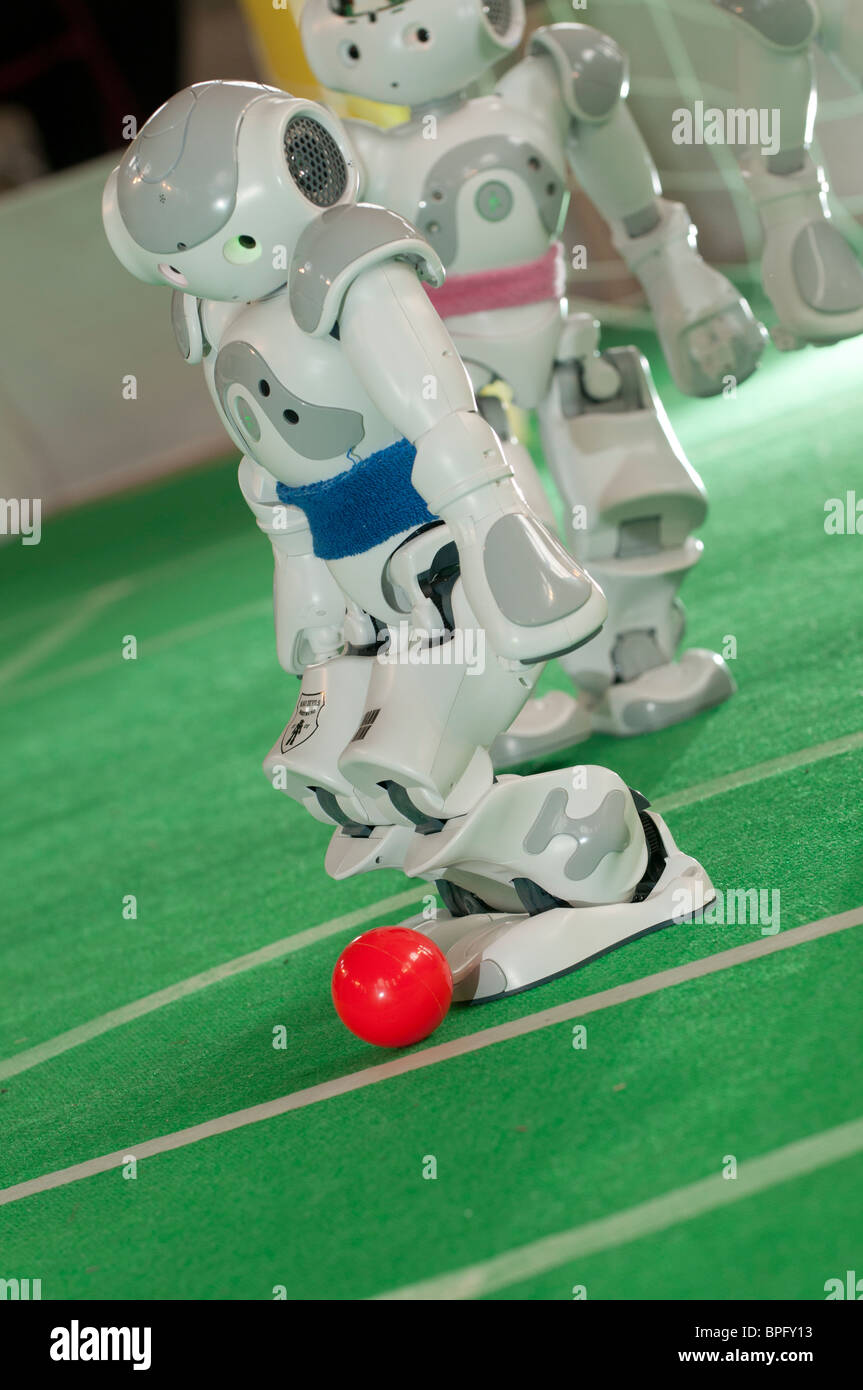 NAO robots playing football at the National Eisteddfod of Wales, Ebbw Vale 2010 - Stock Image