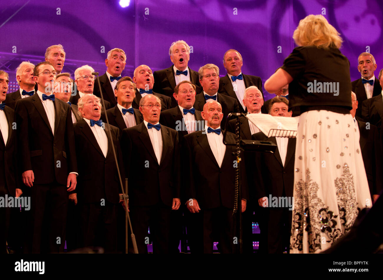 Male voice choir competing at the National Eisteddfod of Wales, Ebbw Vale 2010 - Stock Image
