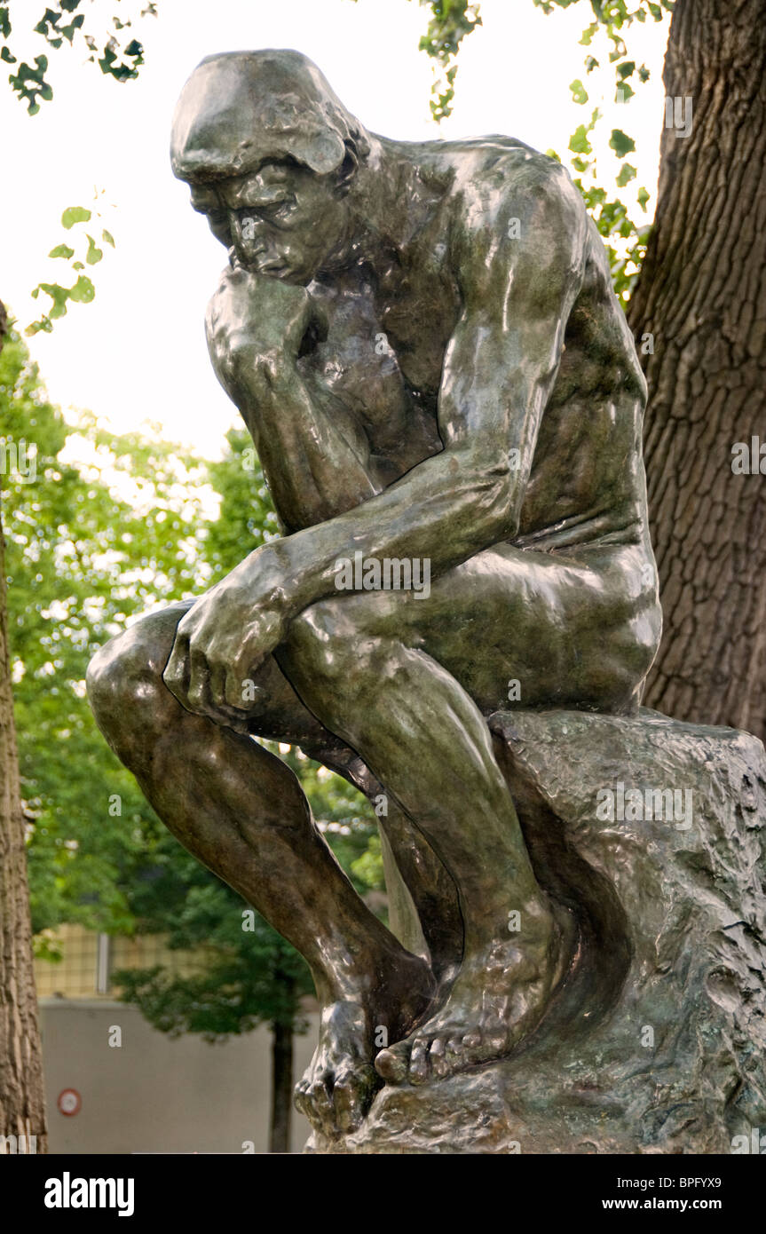 Le Penseur The Thinker Amsterdam Statue Auguste Rodin 1840-1917 France - Stock Image