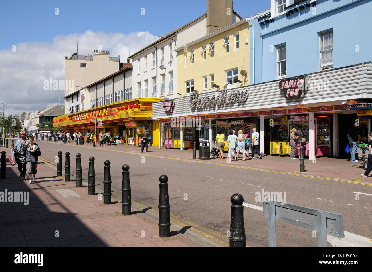 Clacton on Sea Essex England An East Anglia seaside resort & street lined with amusement arcades - Stock Image