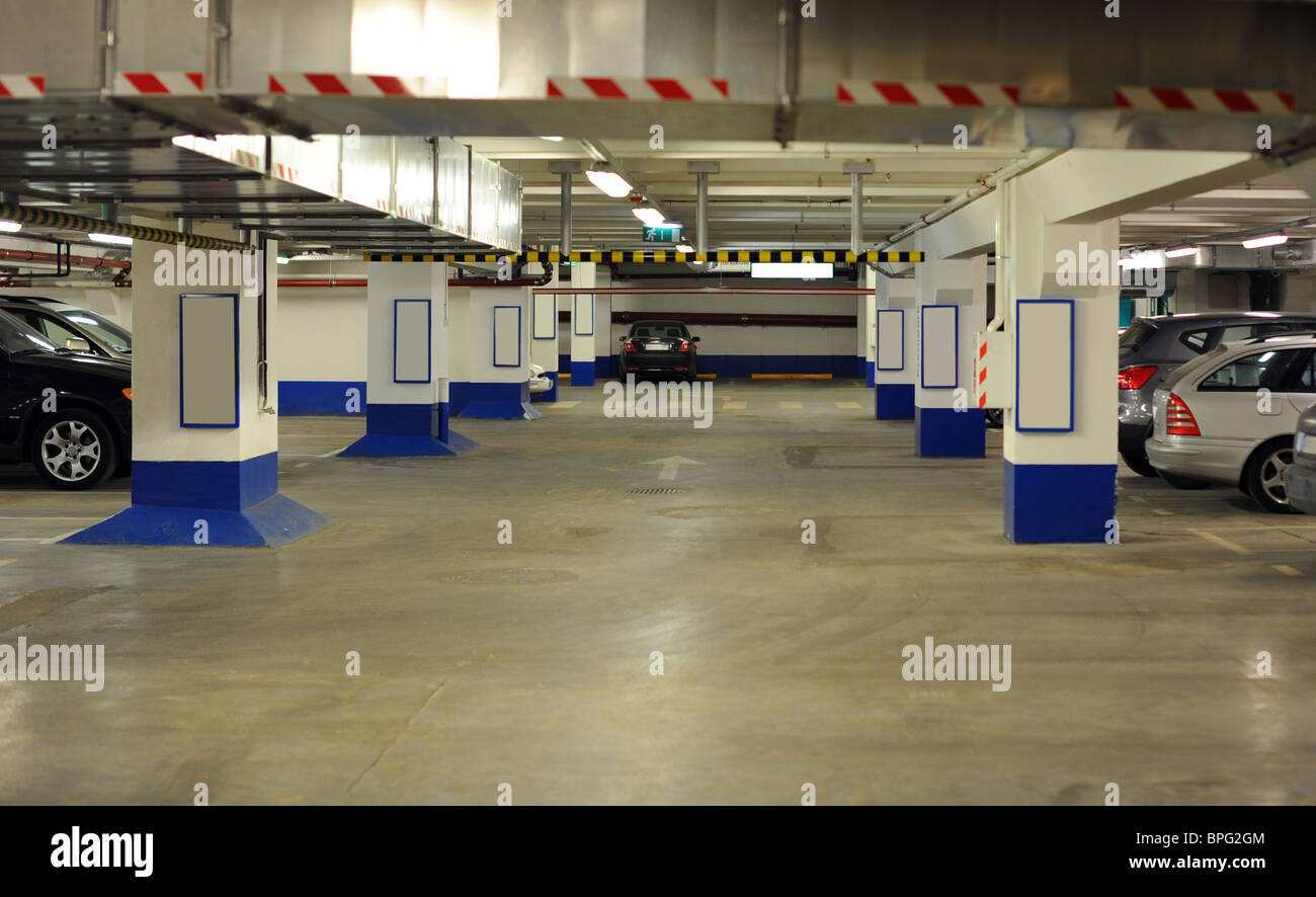 Modern Underground Parking House With Parking Cars - Stock Image