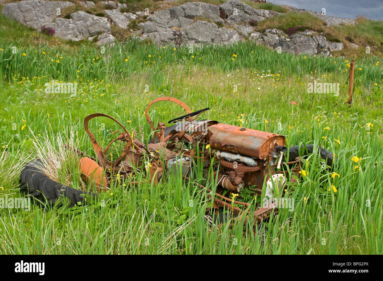 Scrapped and abandoned Island Crofting Aricultural Machinery South Uist Outer Hebrides, Western Isles, Scotland. Stock Photo