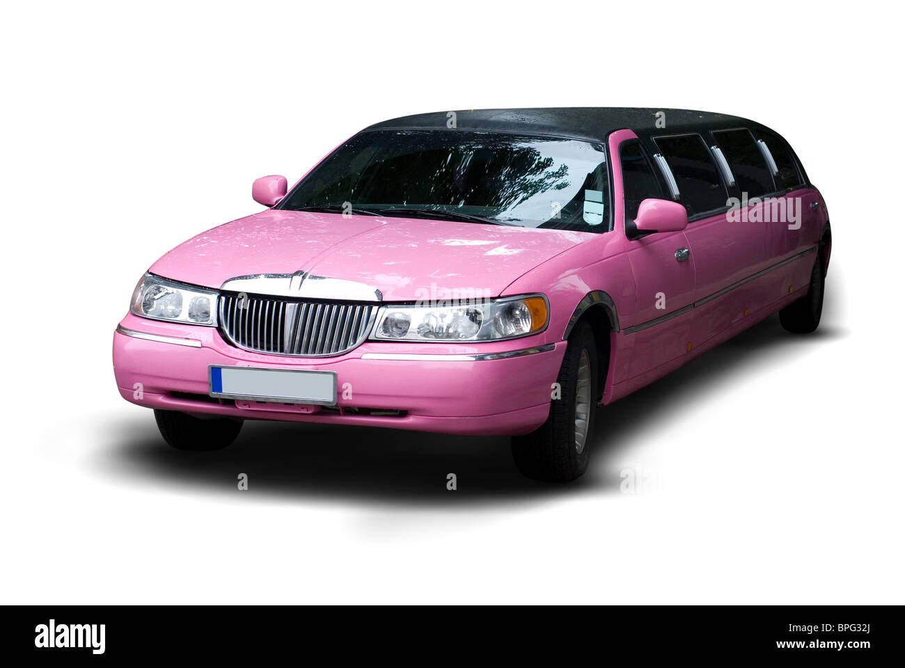 Pink Party Wedding Limo Isolated Stock Photo