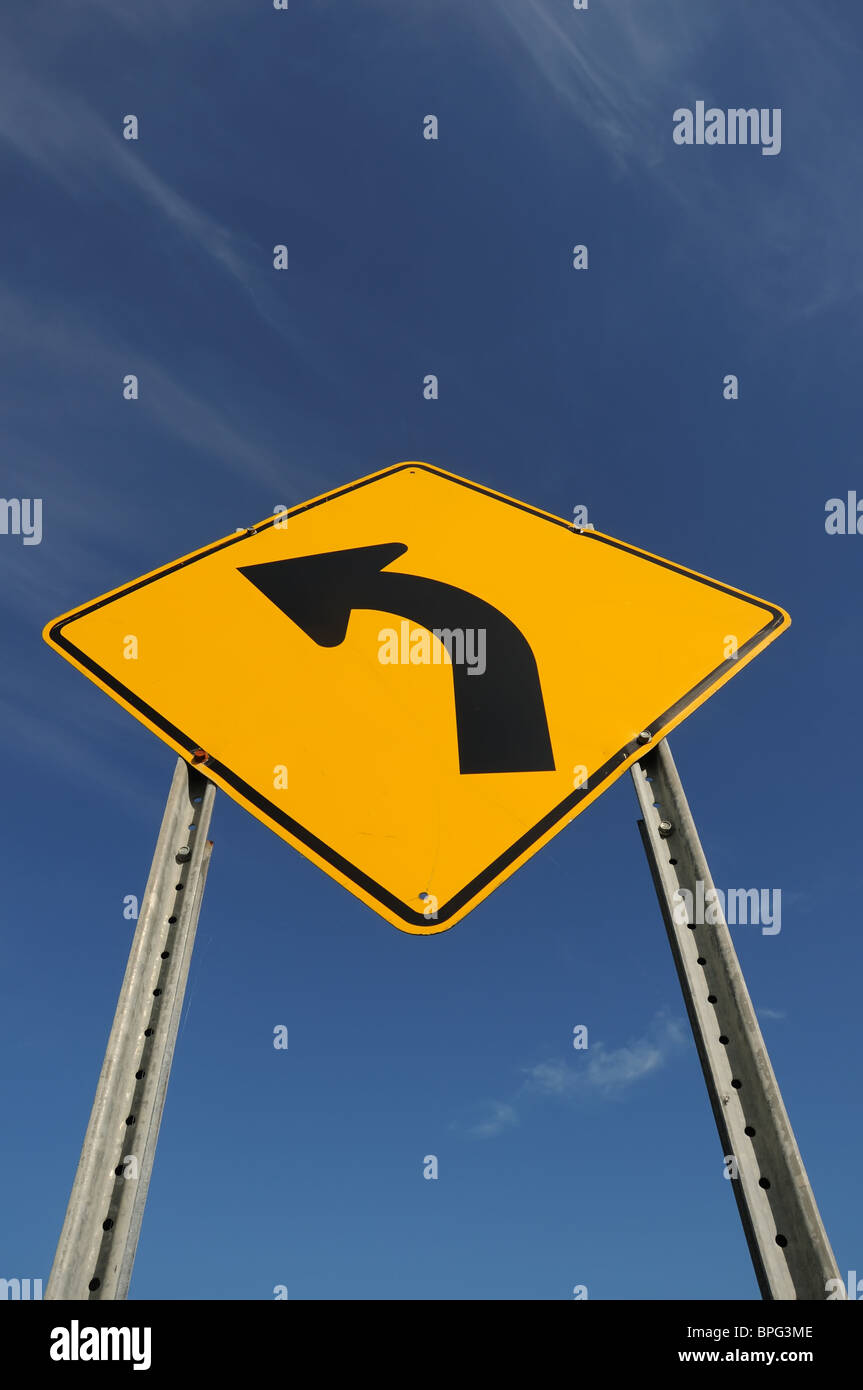 Canadian Left turn road sign Stock Photo