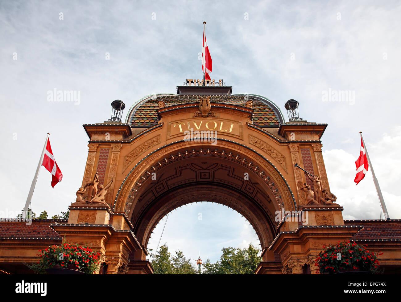 The portal and main entrance to the amusement park Tivoli in Copenhagen, Denmark - Stock Image