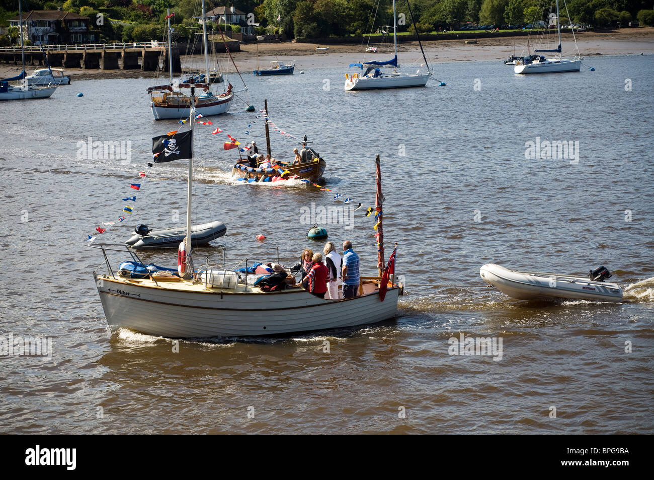 Messing about on the River Dart,Swallows and amazons,Dittisham,Jolly Roger,Ditisham ferry from Greenway quay,Devon - Stock Image