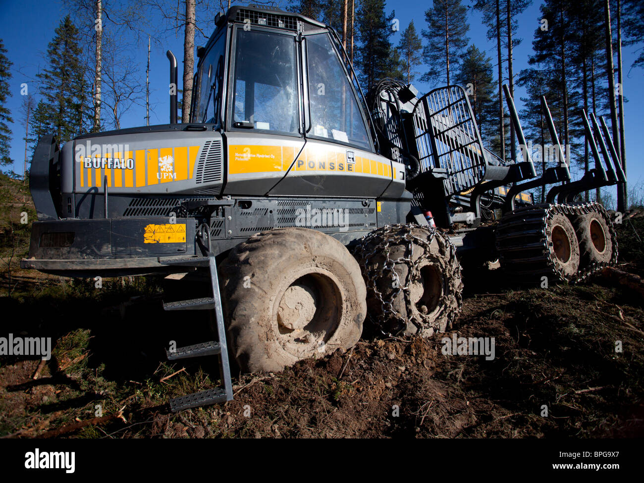 Ponsse Buffalo forest forwarder at clear-cutting area , Finland Stock Photo