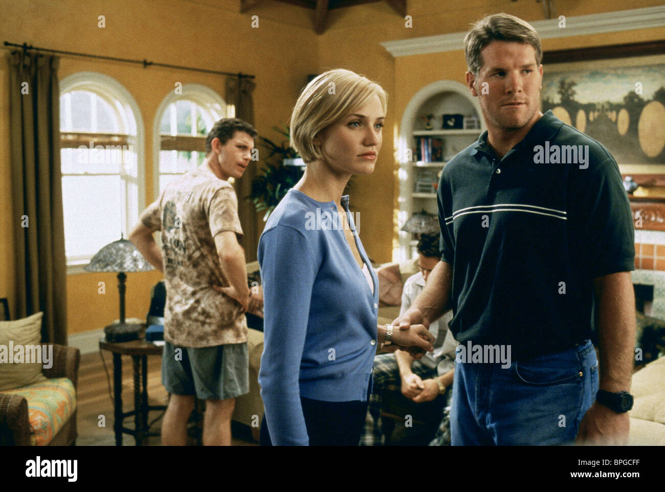 LEE EVANS, CAMERON DIAZ, BRETT FAVRE, THERE'S SOMETHING ABOUT MARY, 1998 - Stock Image