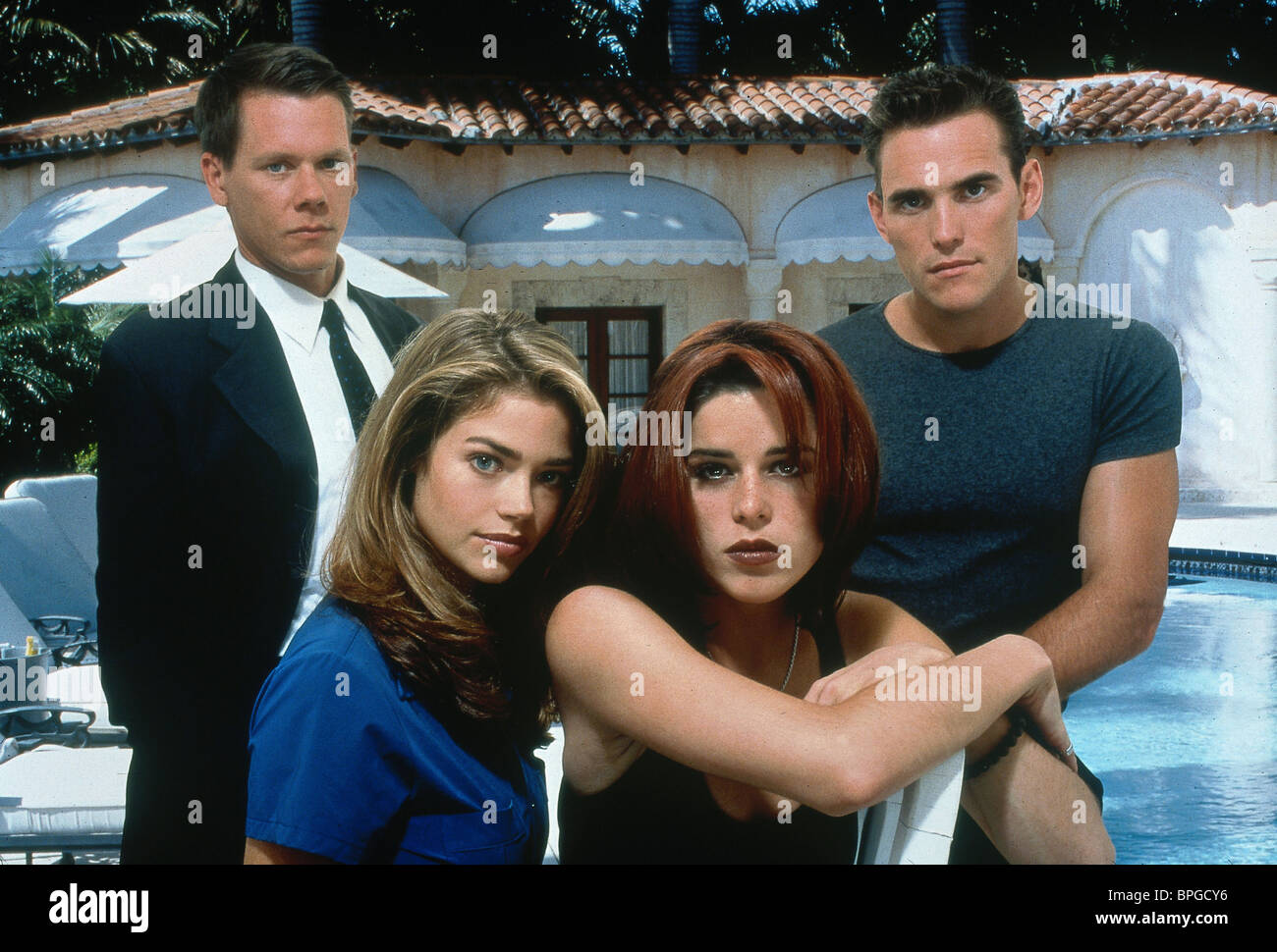 KEVIN BACON DENISE RICHARDS NEVE CAMPBELL & MATT DILLON WILD THINGS (1998) - Stock Image
