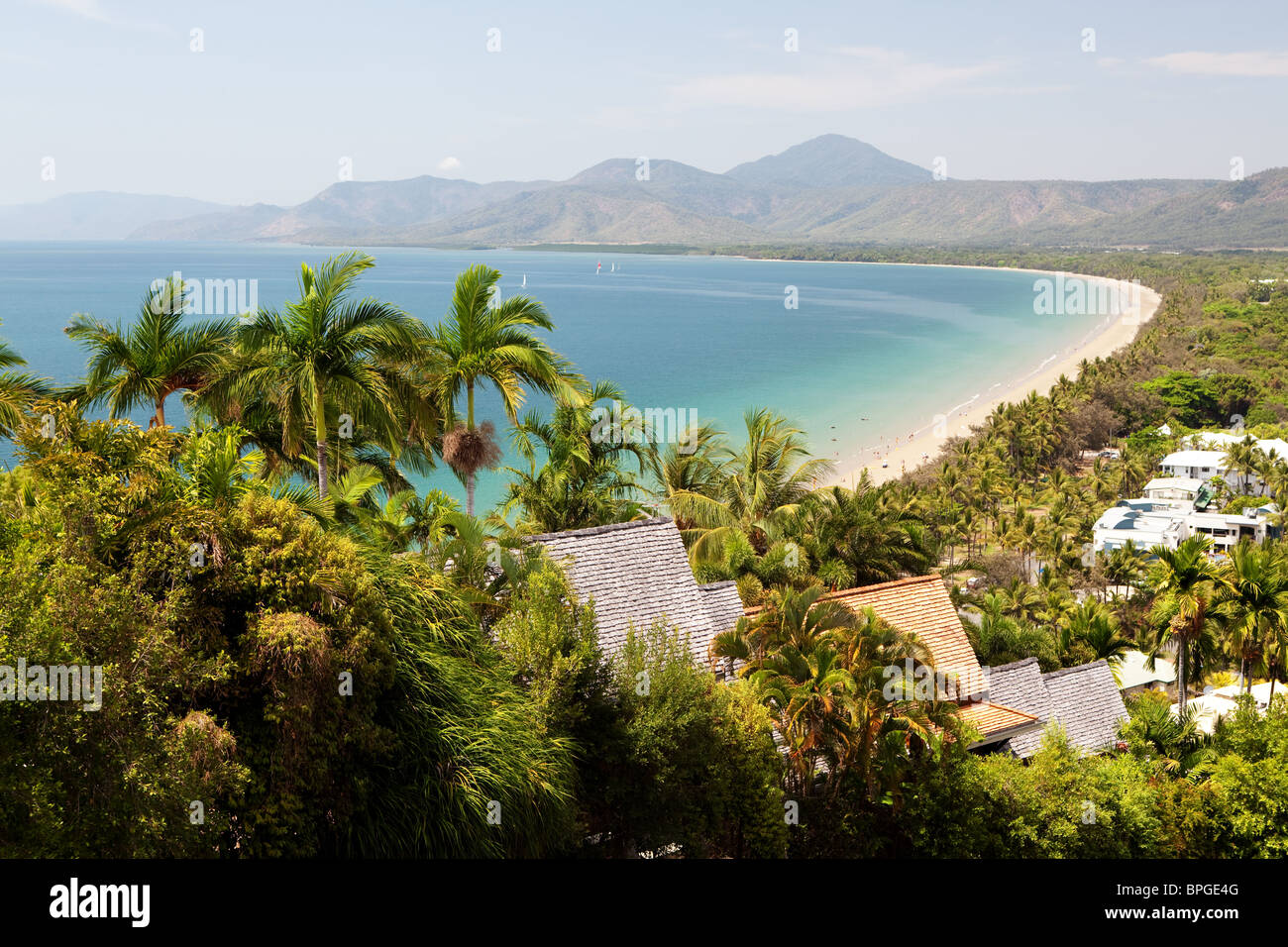 Port Douglas beach on sunny day from observation point - Stock Image
