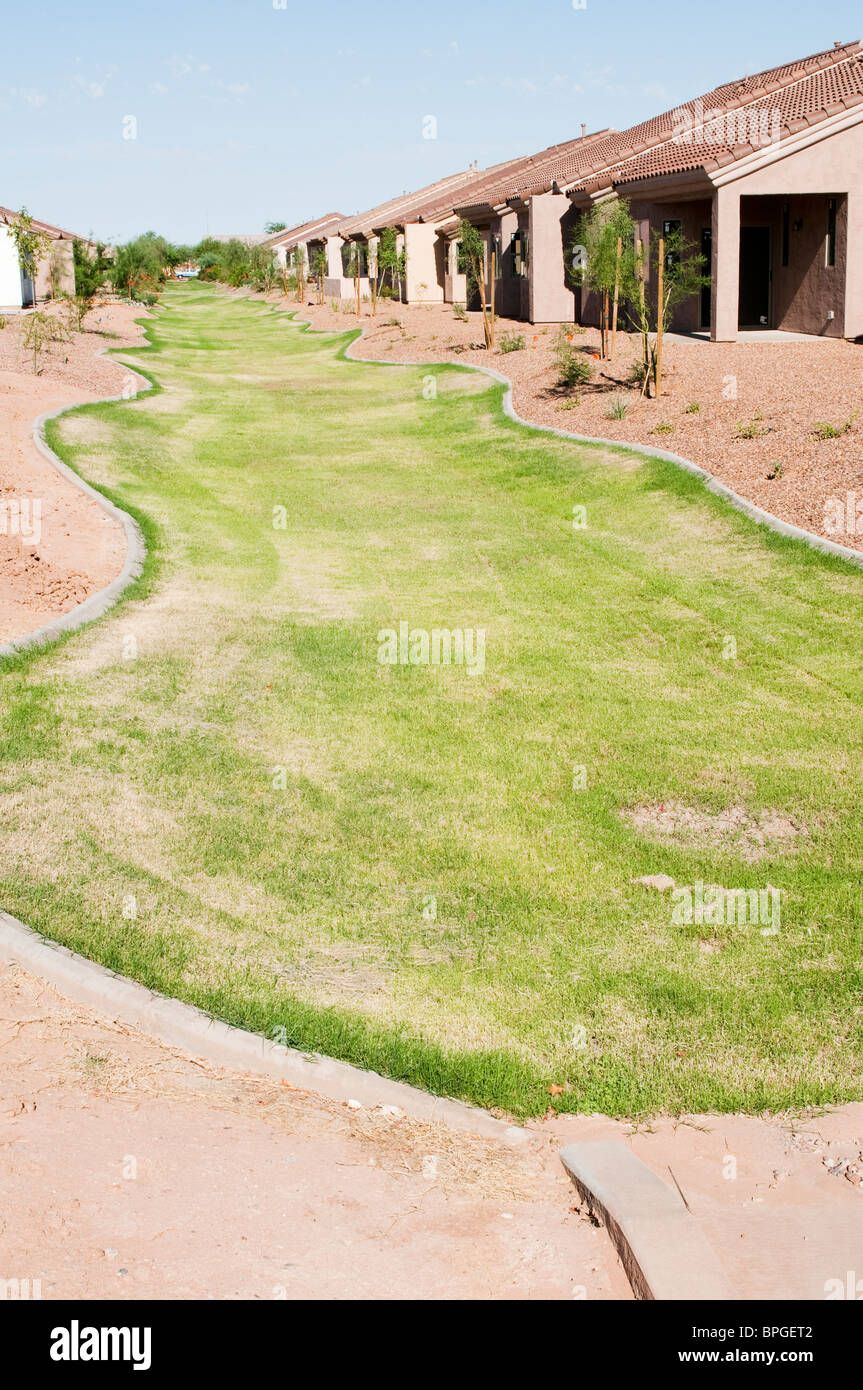 Storm water runoff landscaping in a residential neighborhood. - Stock Image
