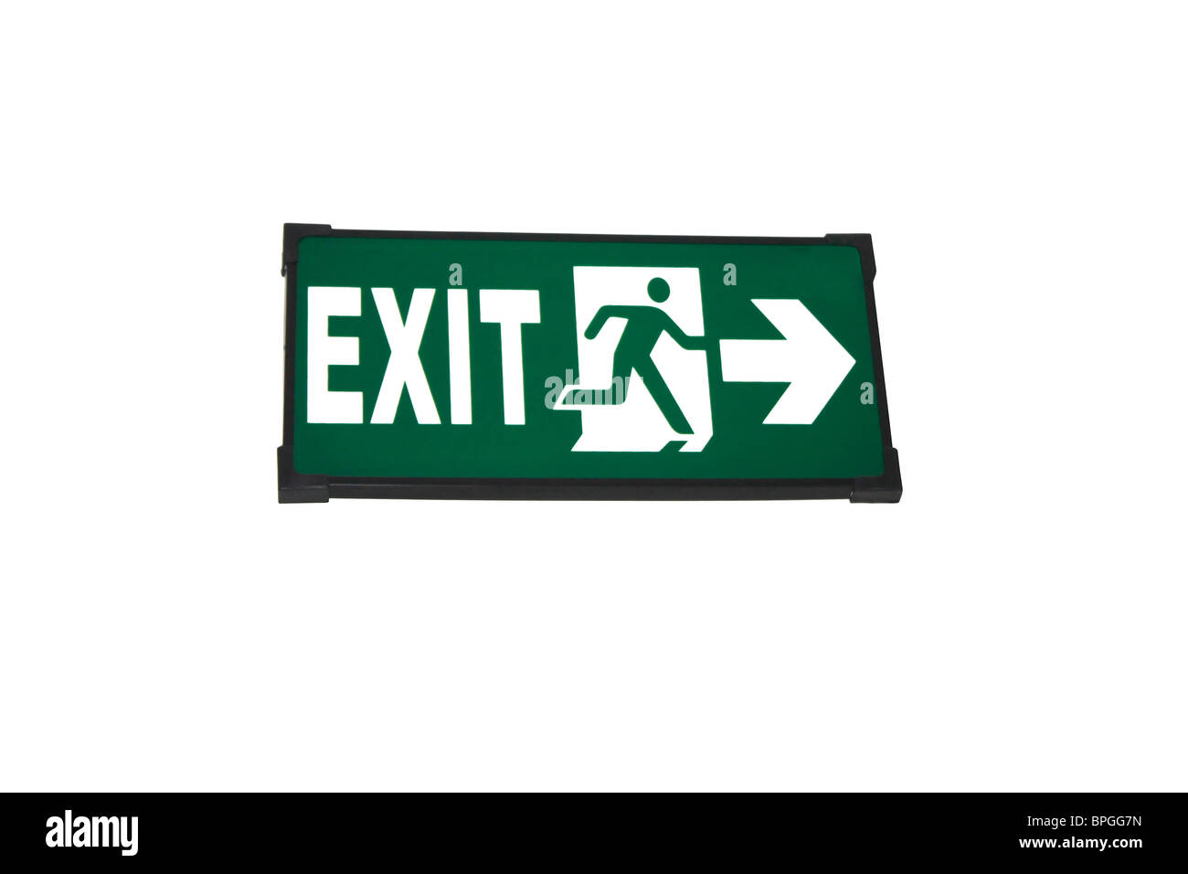 An Exit sign board on wooden panel cut out - Stock Image