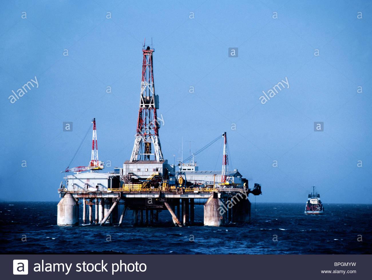 Oil Nigeria Oil Platform At Sea - Stock Image